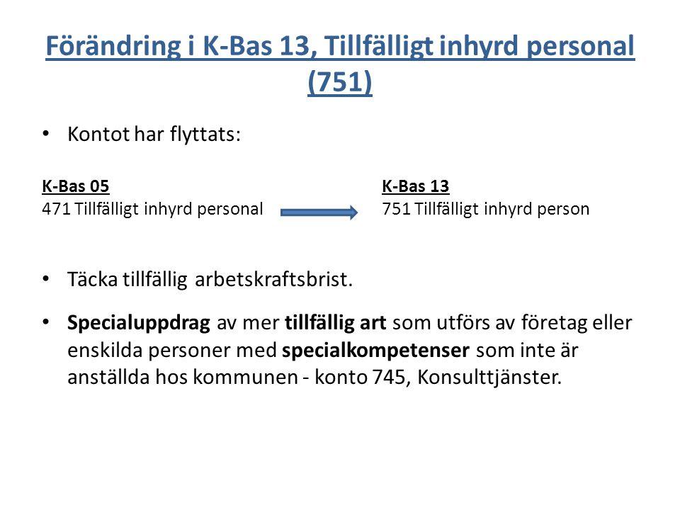 Förändring i K-Bas 13, Tillfälligt inhyrd personal (751)