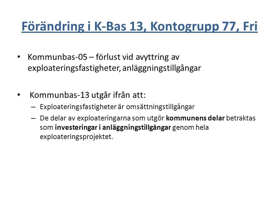 Förändring i K-Bas 13, Kontogrupp 77, Fri