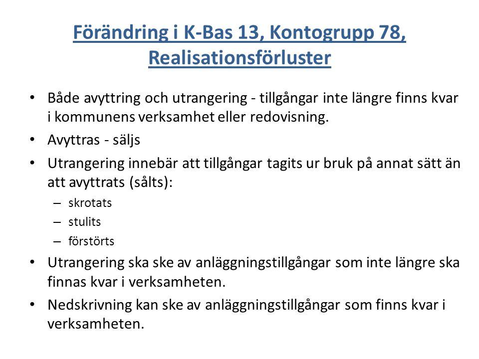 Förändring i K-Bas 13, Kontogrupp 78, Realisationsförluster