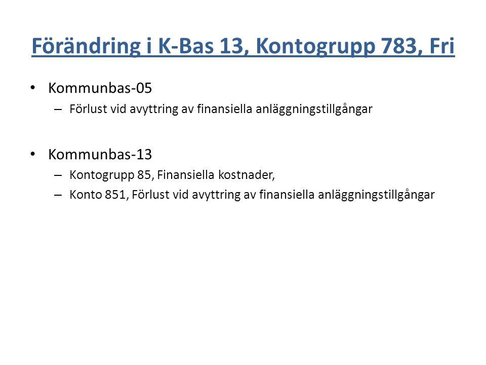 Förändring i K-Bas 13, Kontogrupp 783, Fri
