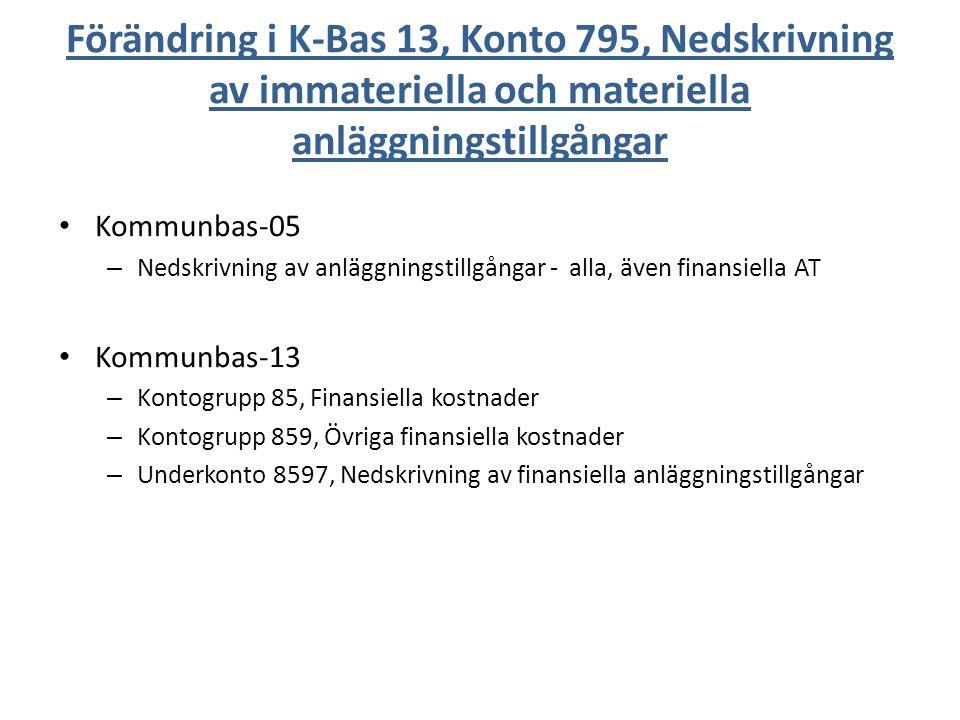 Förändring i K-Bas 13, Konto 795, Nedskrivning av immateriella och materiella anläggningstillgångar