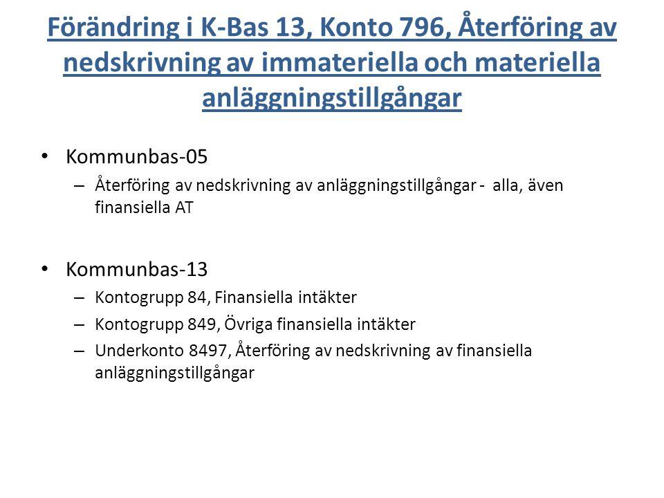 Förändring i K-Bas 13, Konto 796, Återföring av nedskrivning av immateriella och materiella anläggningstillgångar