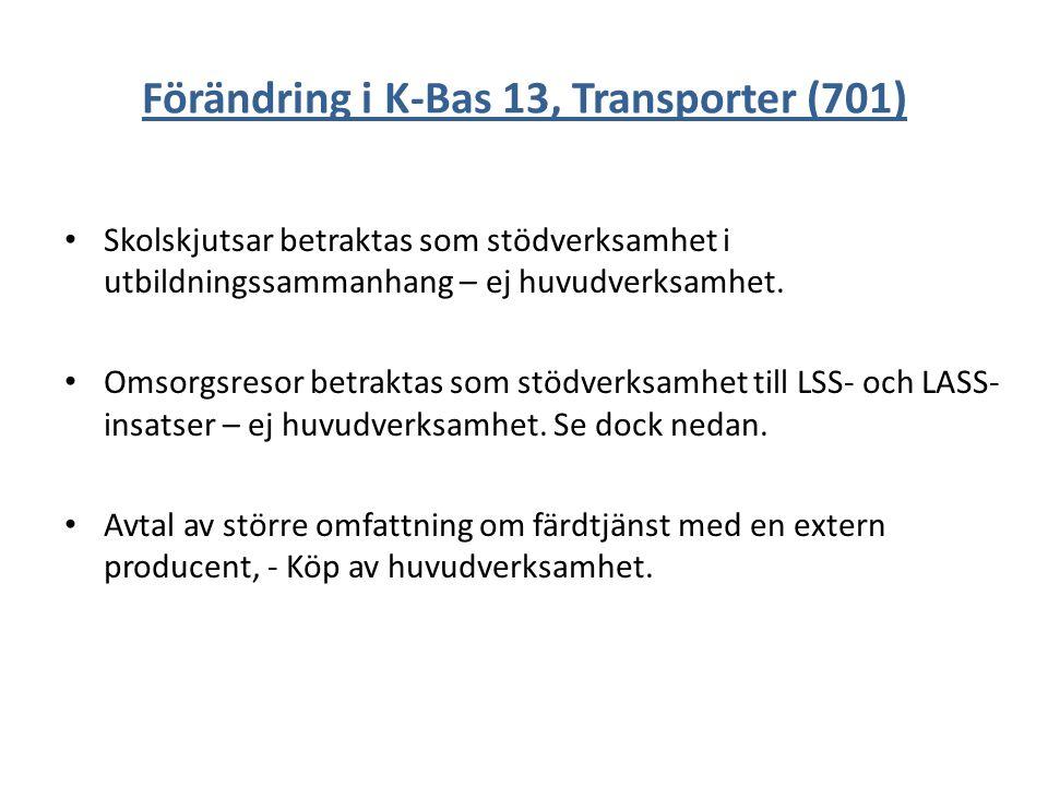 Förändring i K-Bas 13, Transporter (701)