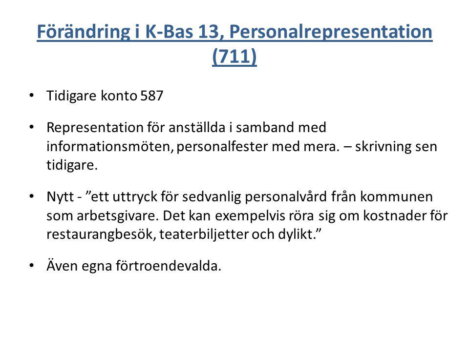 Förändring i K-Bas 13, Personalrepresentation (711)