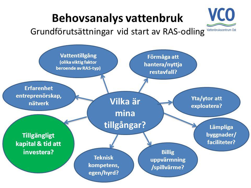 Behovsanalys vattenbruk Grundförutsättningar vid start av RAS-odling