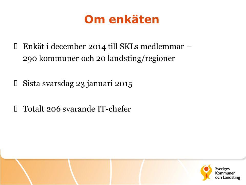 Om enkäten Enkät i december 2014 till SKLs medlemmar – 290 kommuner och 20 landsting/regioner. Sista svarsdag 23 januari 2015.