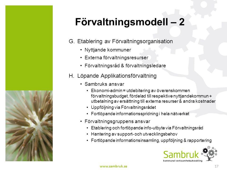 Förvaltningsmodell – 2 Etablering av Förvaltningsorganisation