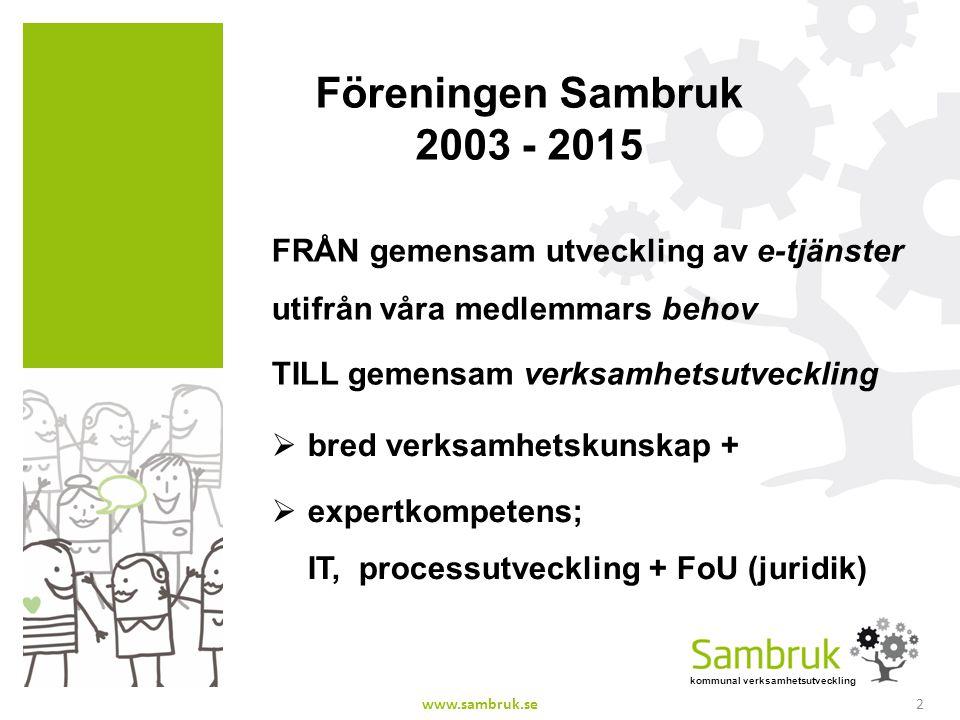 Föreningen Sambruk 2003 - 2015 FRÅN gemensam utveckling av e-tjänster utifrån våra medlemmars behov.