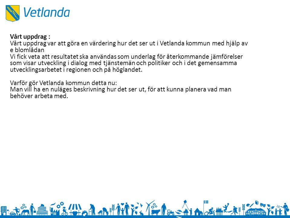 Vårt uppdrag : Vårt uppdrag var att göra en värdering hur det ser ut i Vetlanda kommun med hjälp av e blomlådan.