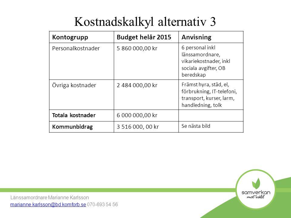 Kostnadskalkyl alternativ 3