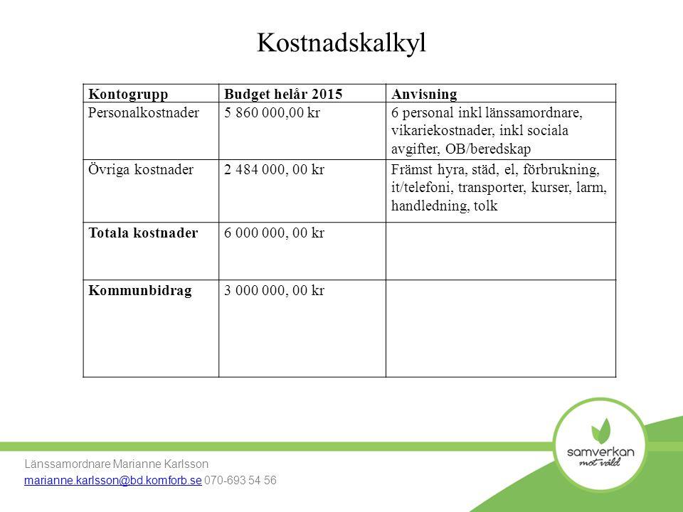 Kostnadskalkyl Kontogrupp Budget helår 2015 Anvisning