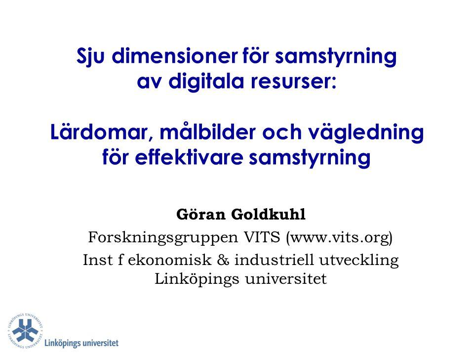 Sju dimensioner för samstyrning av digitala resurser: Lärdomar, målbilder och vägledning för effektivare samstyrning