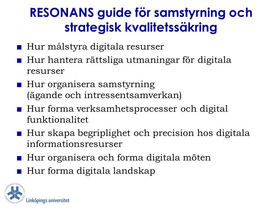 RESONANS guide för samstyrning och strategisk kvalitetssäkring