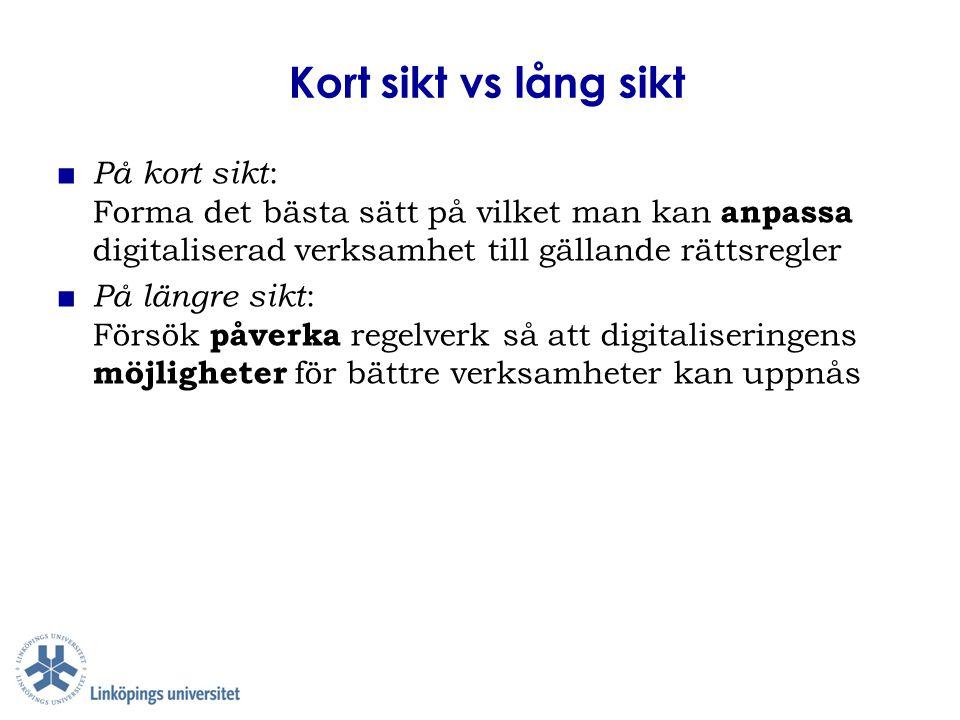 Kort sikt vs lång sikt På kort sikt: Forma det bästa sätt på vilket man kan anpassa digitaliserad verksamhet till gällande rättsregler.