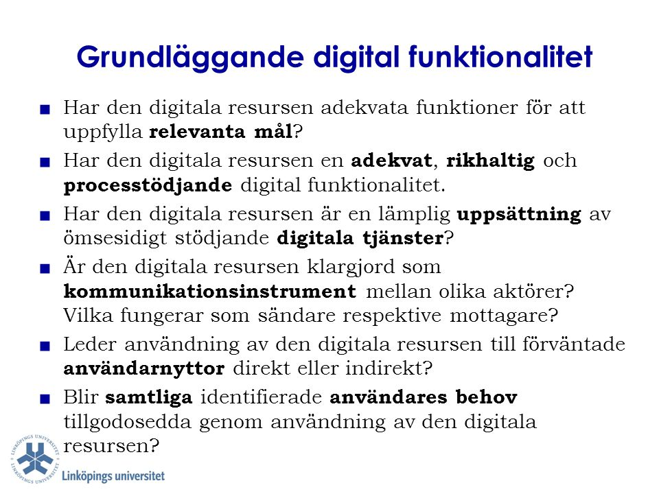 Grundläggande digital funktionalitet