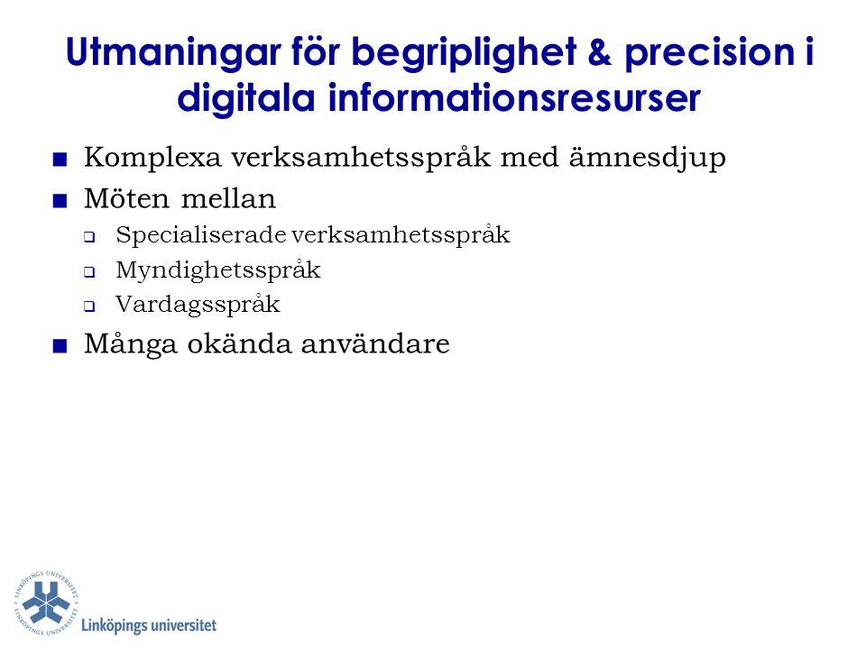 Utmaningar för begriplighet & precision i digitala informationsresurser