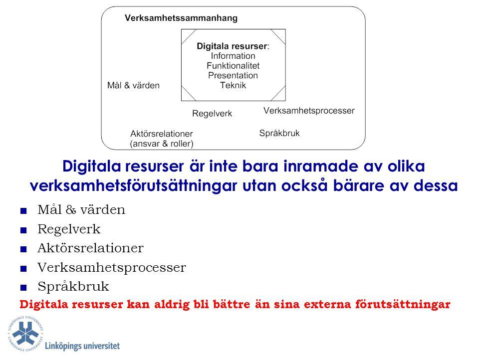 Digitala resurser är inte bara inramade av olika verksamhetsförutsättningar utan också bärare av dessa