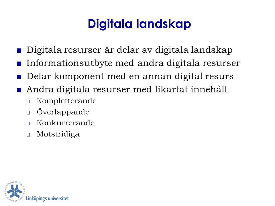 Digitala landskap Digitala resurser är delar av digitala landskap