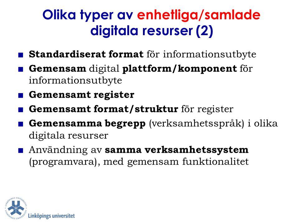 Olika typer av enhetliga/samlade digitala resurser (2)
