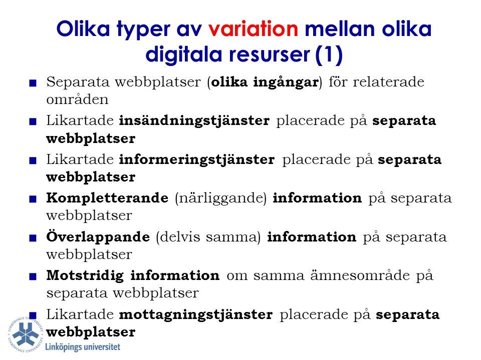 Olika typer av variation mellan olika digitala resurser (1)