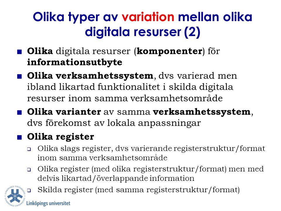 Olika typer av variation mellan olika digitala resurser (2)