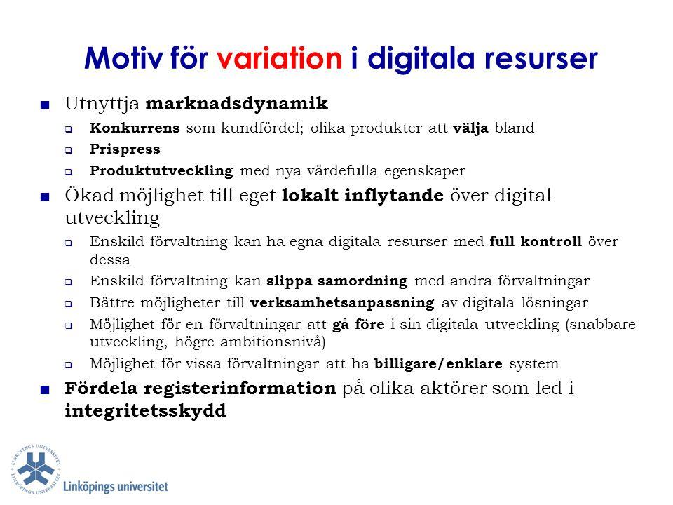 Motiv för variation i digitala resurser