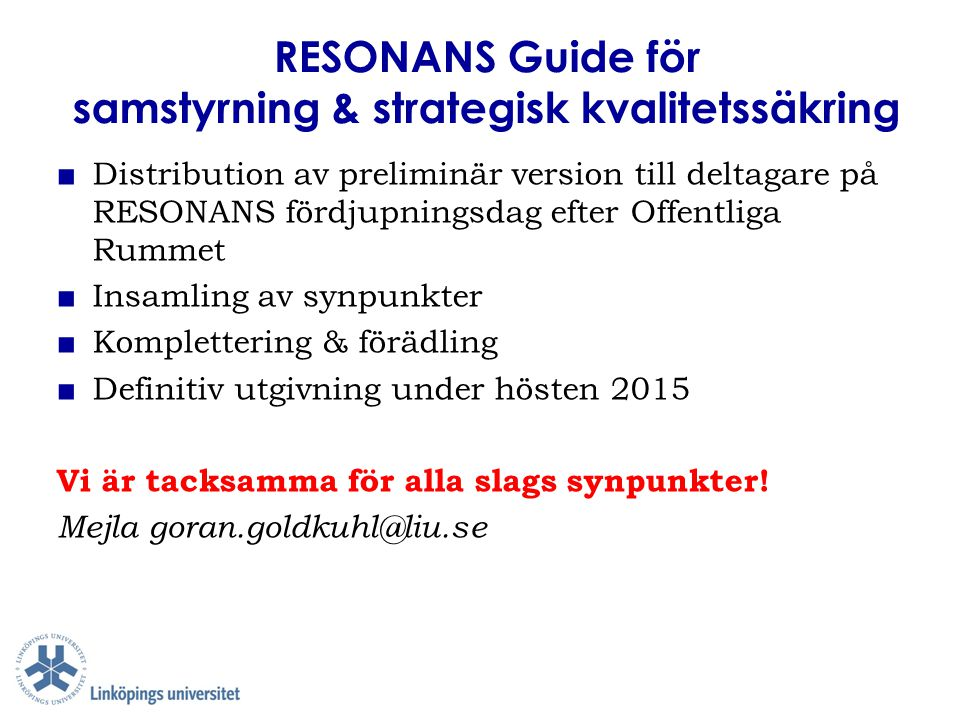 RESONANS Guide för samstyrning & strategisk kvalitetssäkring