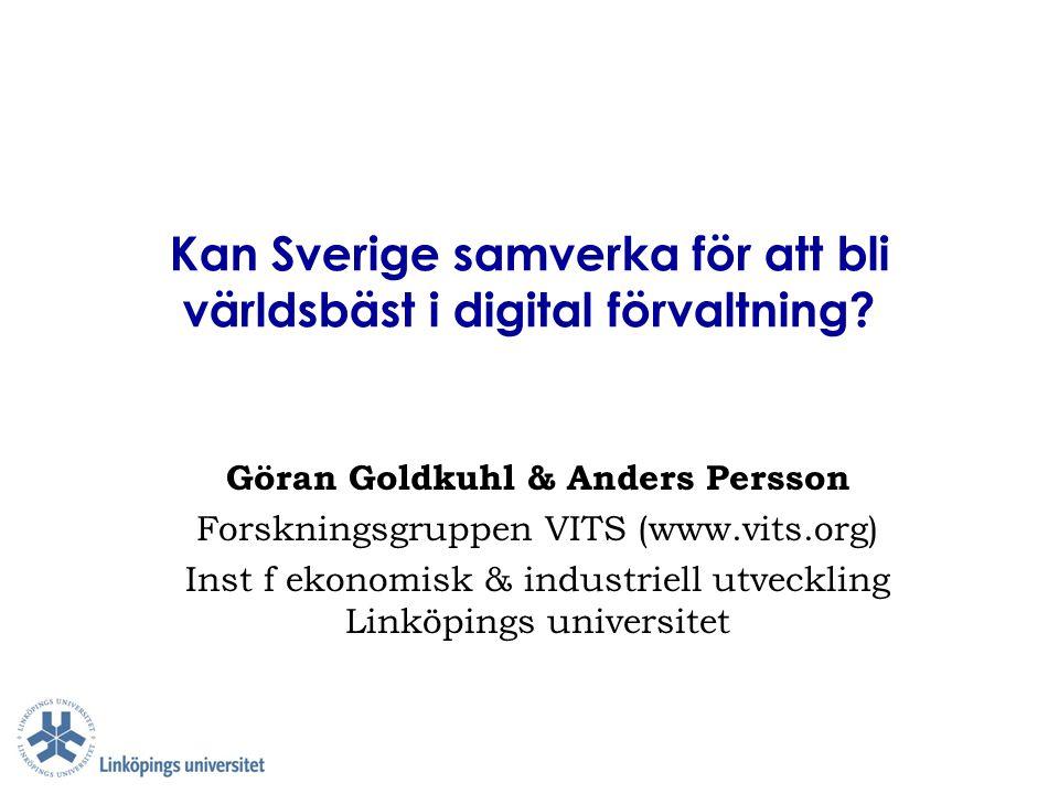Kan Sverige samverka för att bli världsbäst i digital förvaltning