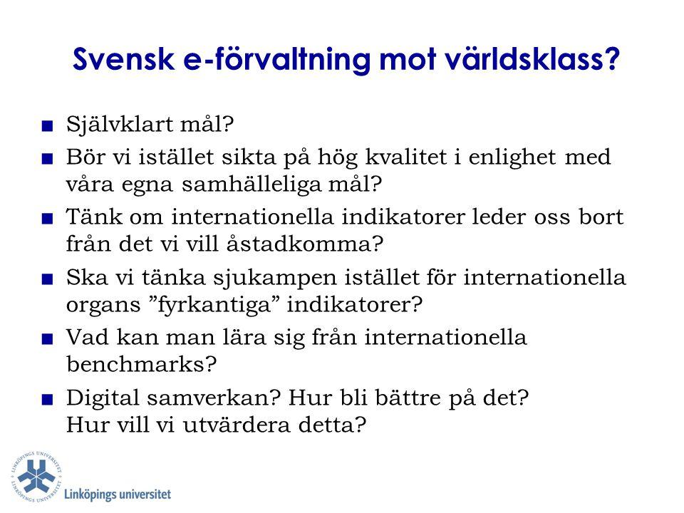 Svensk e-förvaltning mot världsklass