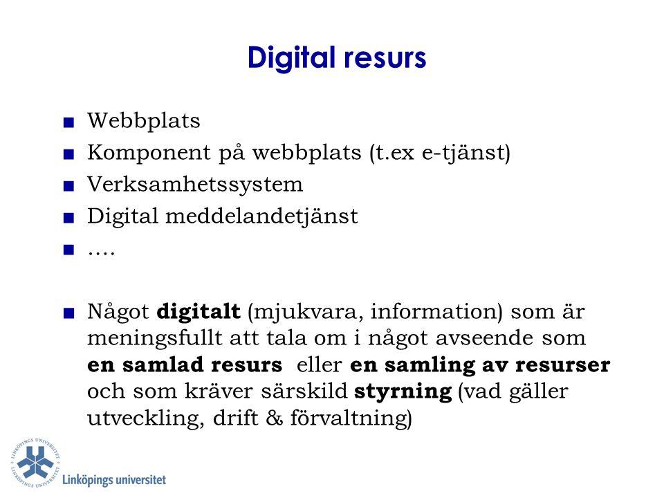 Digital resurs Webbplats Komponent på webbplats (t.ex e-tjänst)