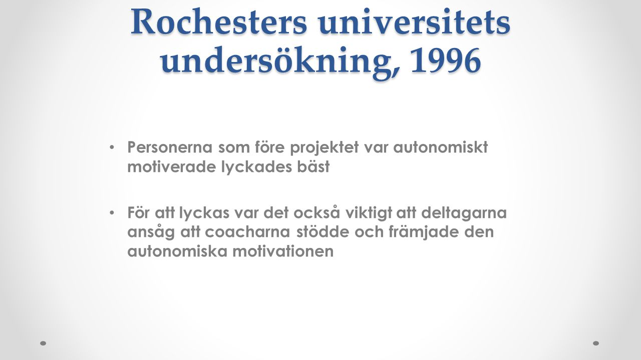 Rochesters universitets undersökning, 1996