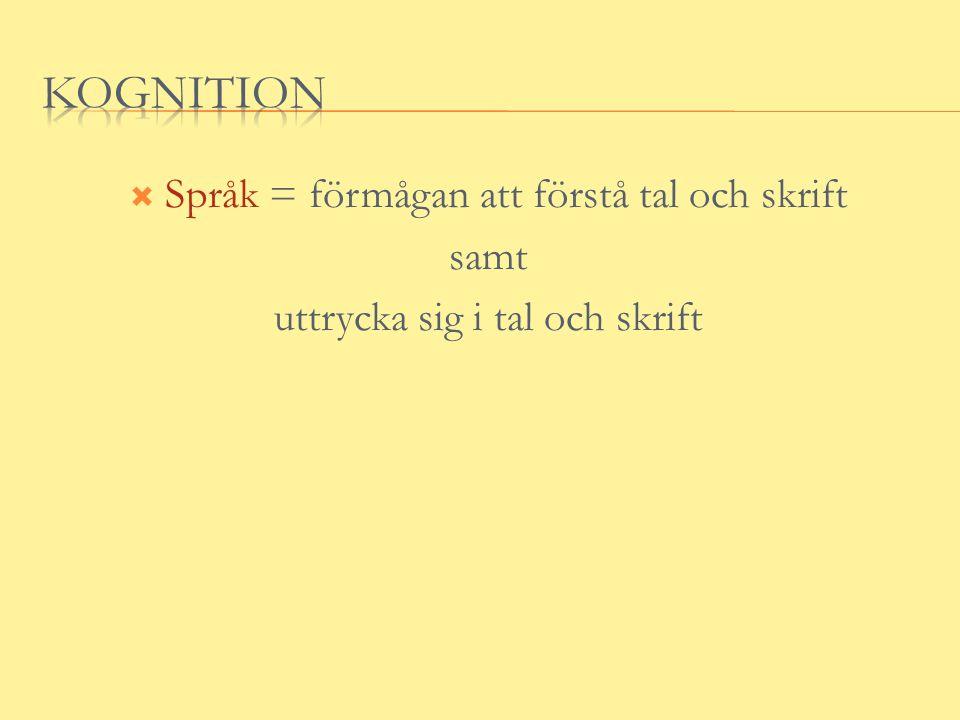 kognition Språk = förmågan att förstå tal och skrift samt