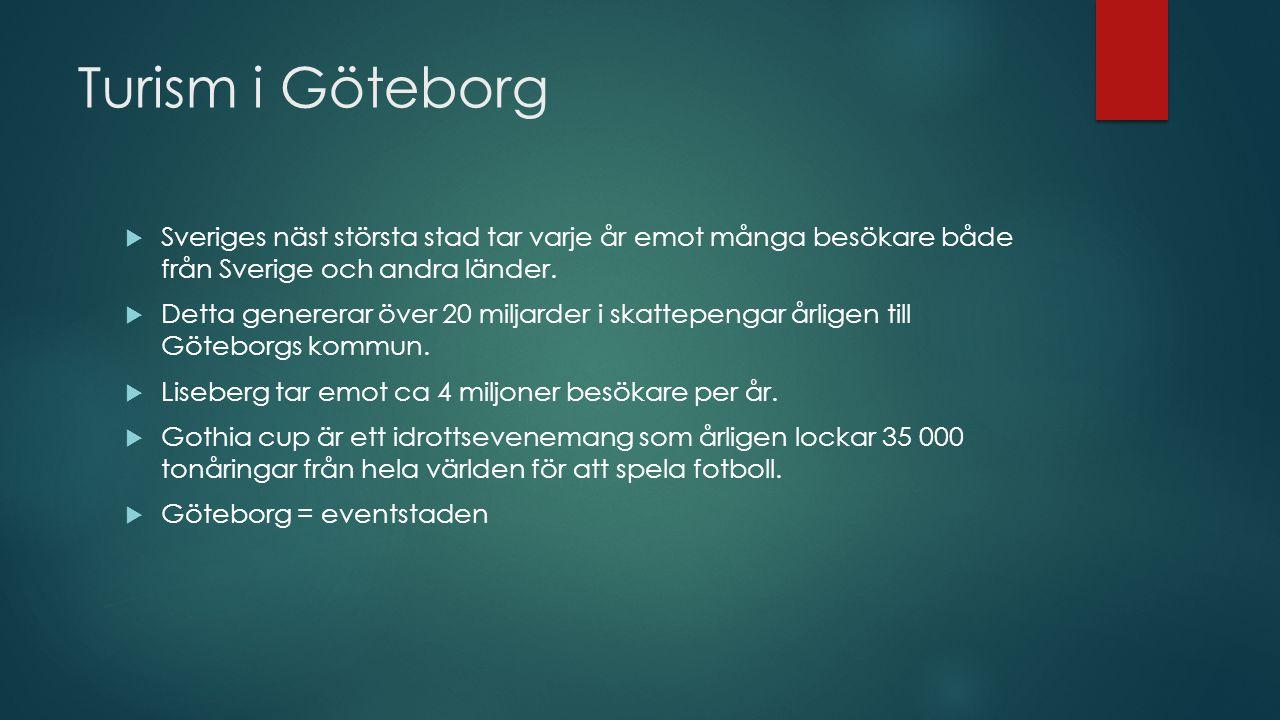 Turism i Göteborg Sveriges näst största stad tar varje år emot många besökare både från Sverige och andra länder.