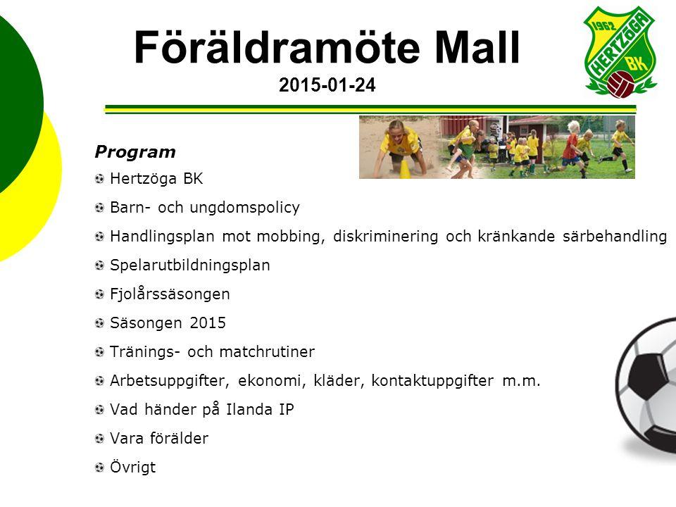 Föräldramöte Mall 2015-01-24 Program Hertzöga BK