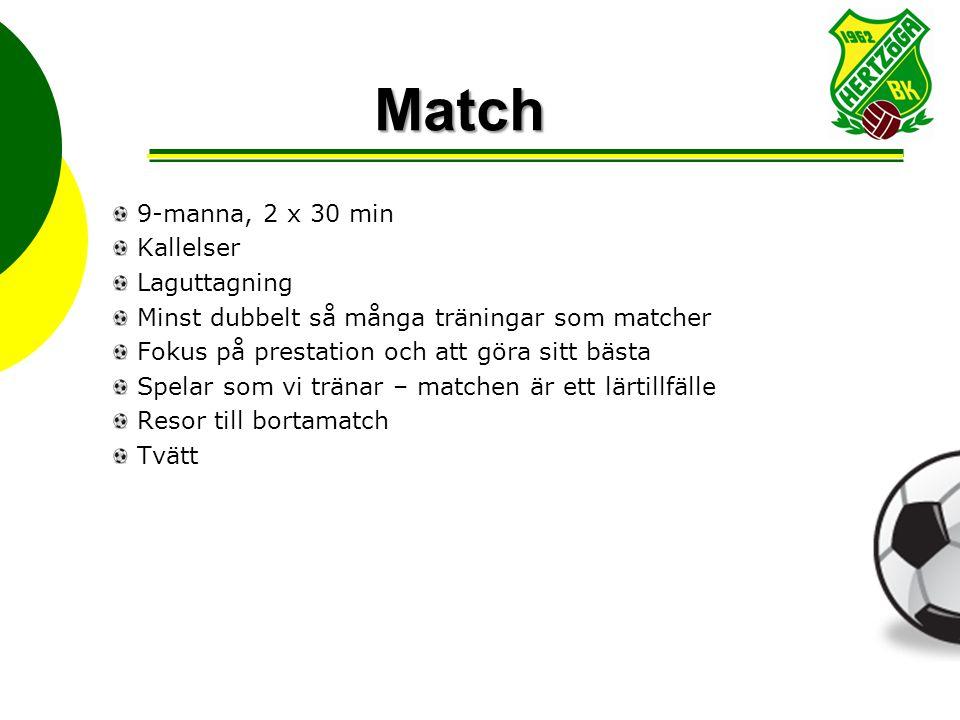 Match 9-manna, 2 x 30 min Kallelser Laguttagning