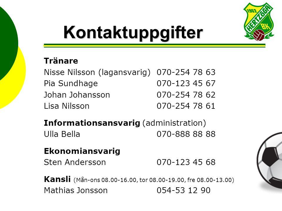 Kontaktuppgifter Tränare Nisse Nilsson (lagansvarig) 070-254 78 63