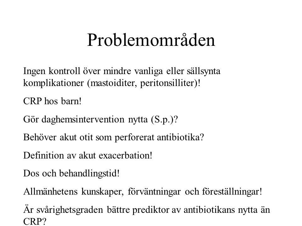 Problemområden Ingen kontroll över mindre vanliga eller sällsynta komplikationer (mastoiditer, peritonsilliter)!