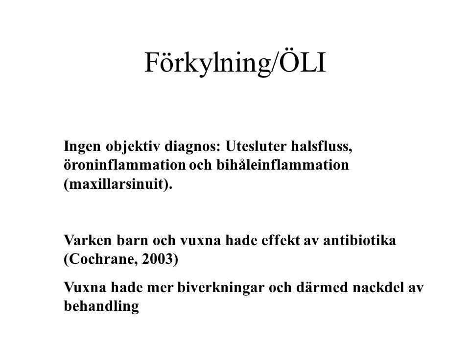 Förkylning/ÖLI Ingen objektiv diagnos: Utesluter halsfluss, öroninflammation och bihåleinflammation (maxillarsinuit).