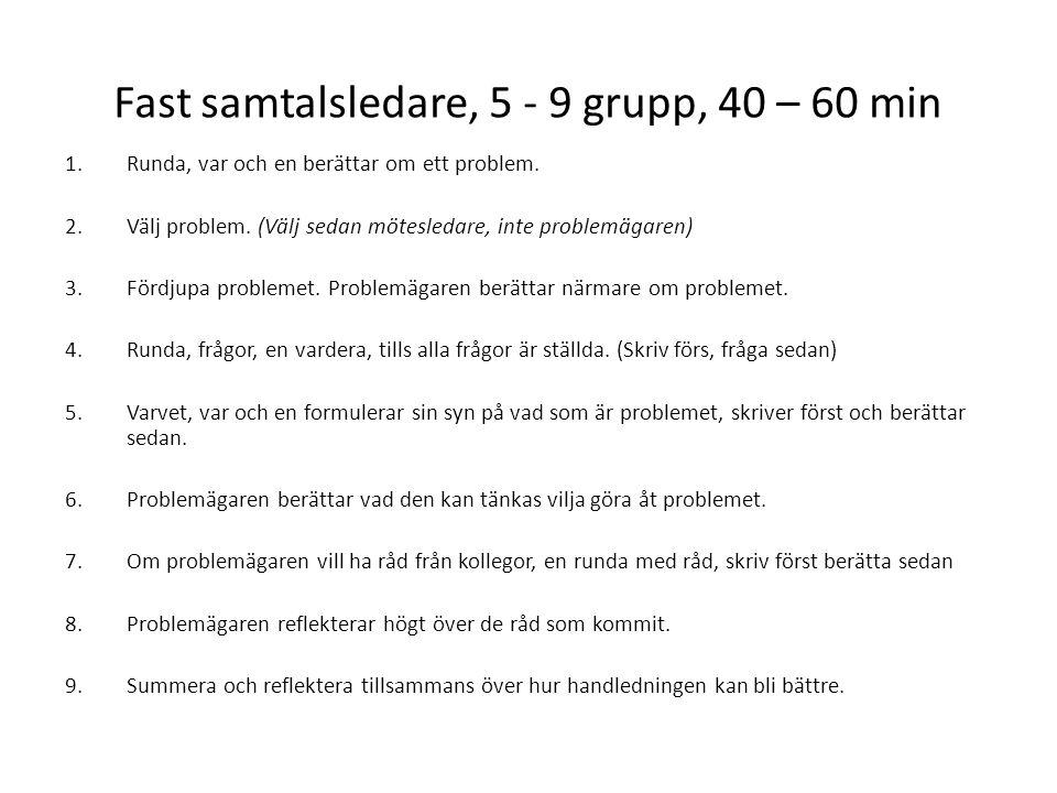Fast samtalsledare, 5 - 9 grupp, 40 – 60 min