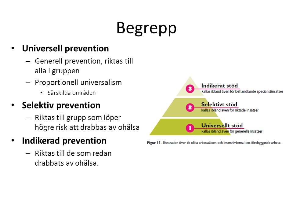 Begrepp Universell prevention Selektiv prevention Indikerad prevention