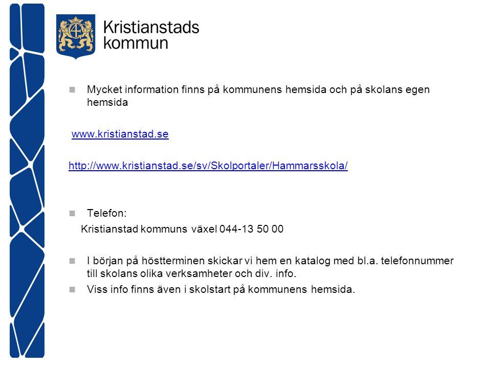 Mycket information finns på kommunens hemsida och på skolans egen hemsida