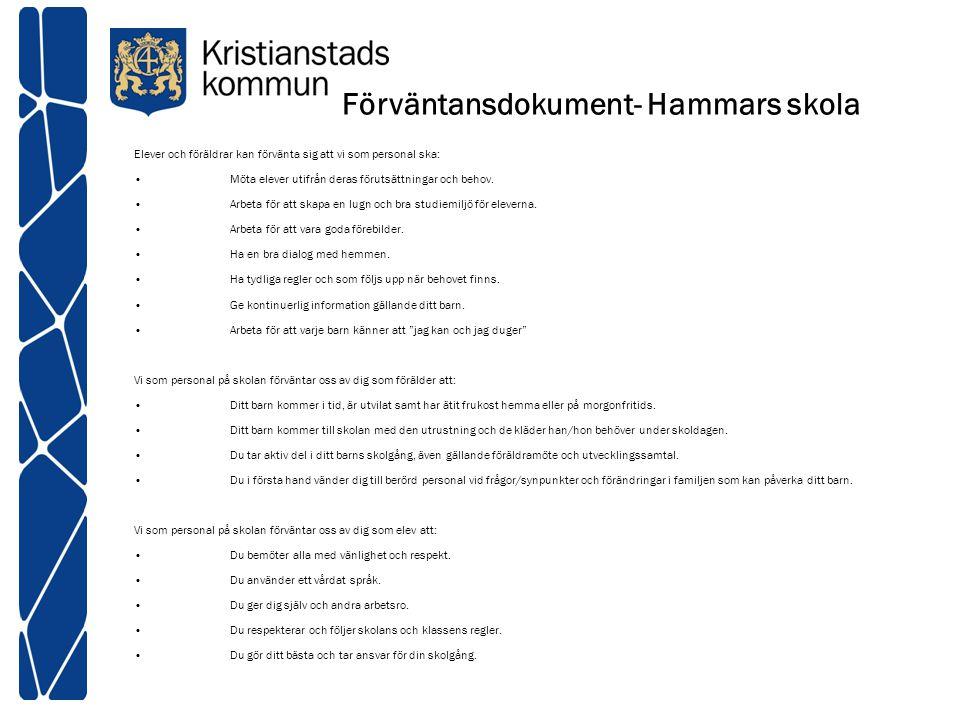 Förväntansdokument- Hammars skola