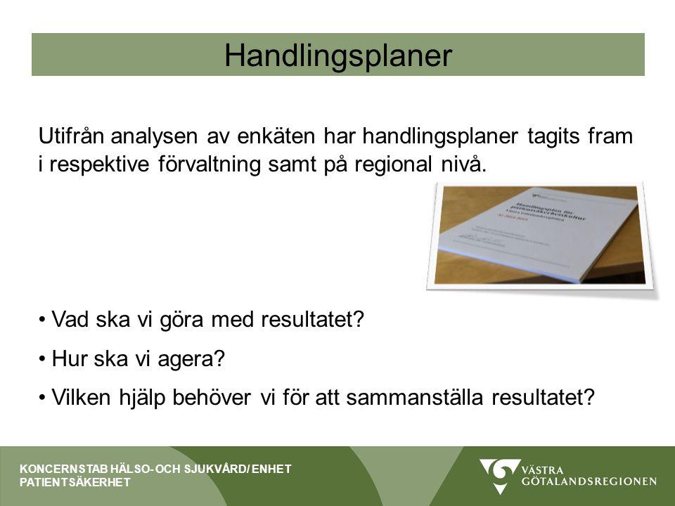 Handlingsplaner Utifrån analysen av enkäten har handlingsplaner tagits fram i respektive förvaltning samt på regional nivå.