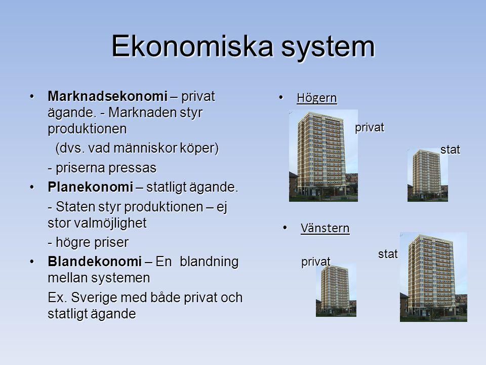 Ekonomiska system Marknadsekonomi – privat ägande. - Marknaden styr produktionen. (dvs. vad människor köper)
