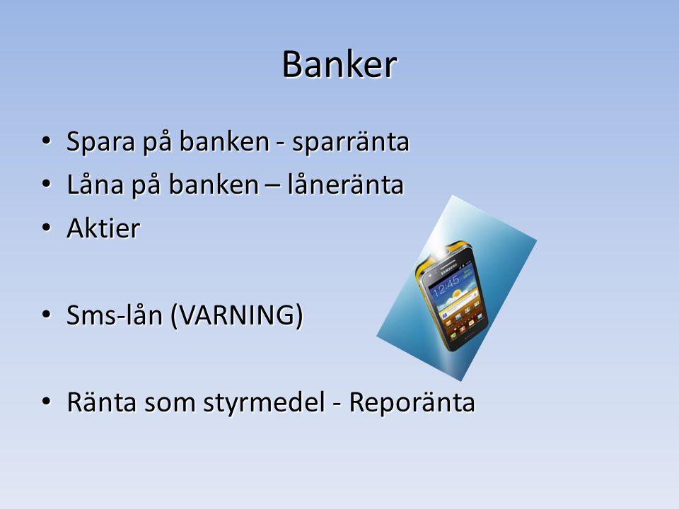 Banker Spara på banken - sparränta Låna på banken – låneränta Aktier