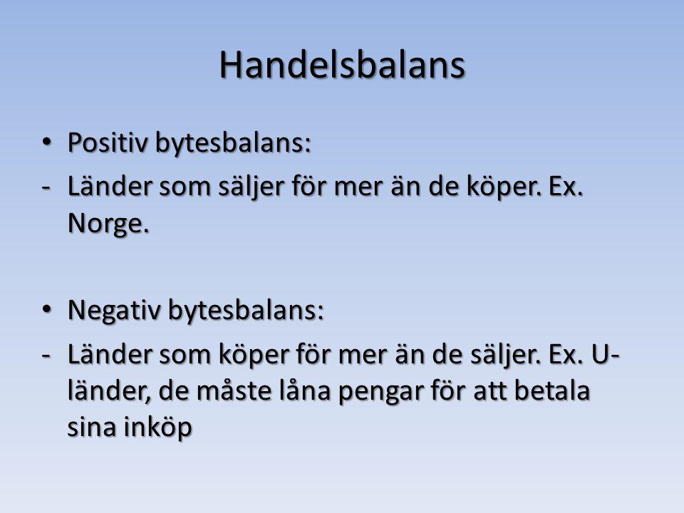 Handelsbalans Positiv bytesbalans: