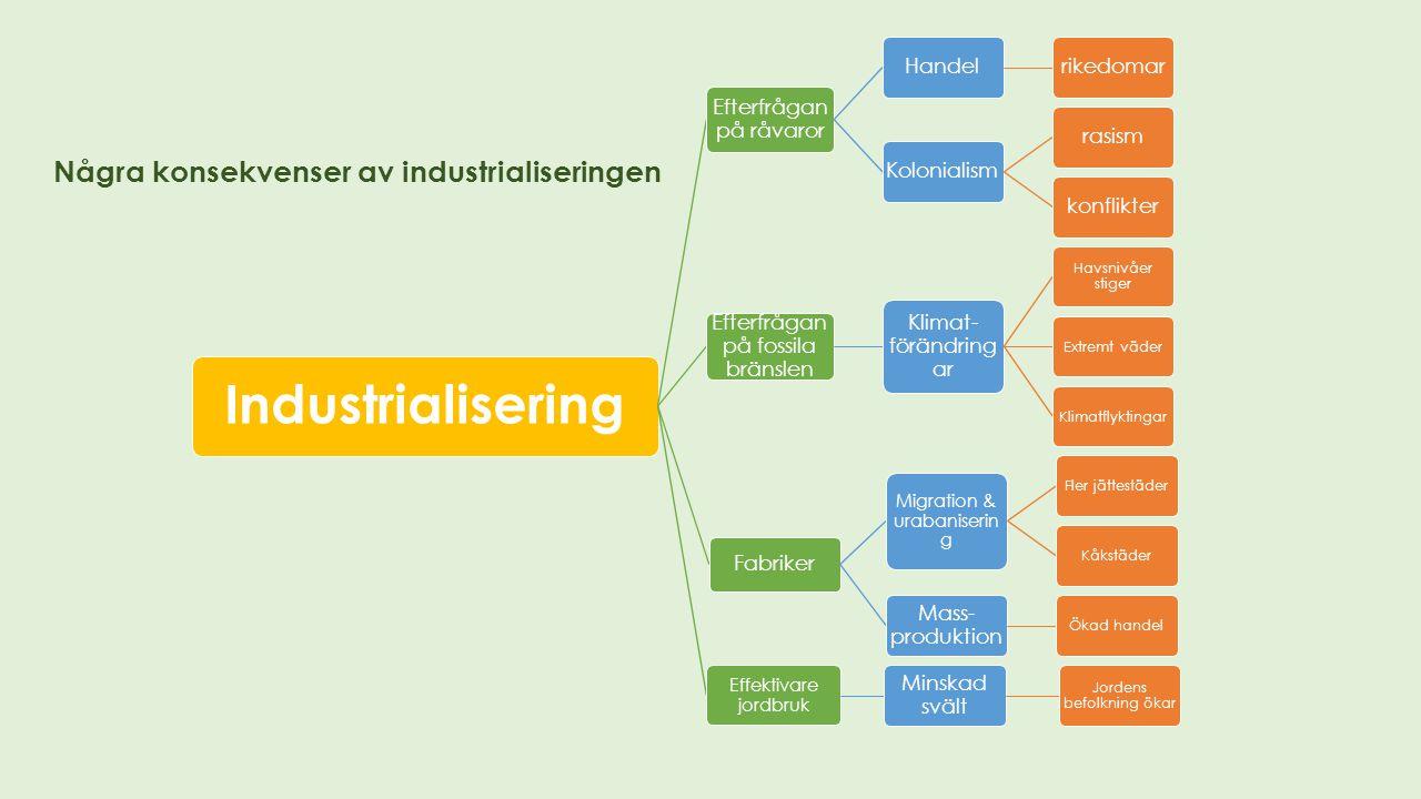 Industrialisering Några konsekvenser av industrialiseringen