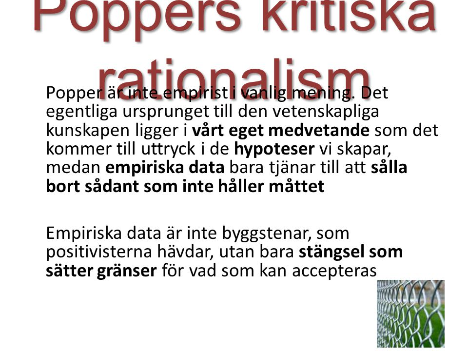 Poppers kritiska rationalism