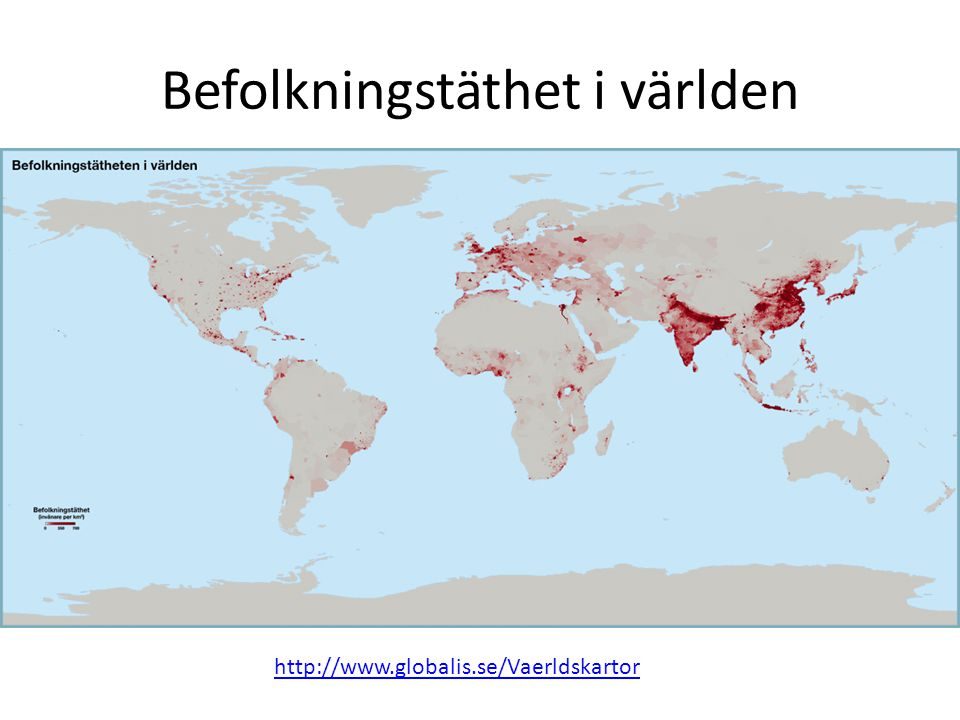 Befolkningstäthet i världen