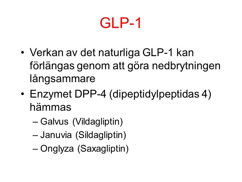 GLP-1 Verkan av det naturliga GLP-1 kan förlängas genom att göra nedbrytningen långsammare. Enzymet DPP-4 (dipeptidylpeptidas 4) hämmas.